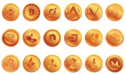 Cryptocurrency icons set. Cartoon set of cryptocurrency vector icons for web design