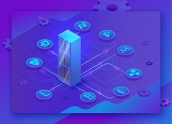 Cryptocurrency isometric 3d landing page with server and digital money icons, blockchain technolodgy and virtual payment concept, vector illustration