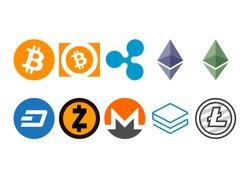 Cryptocurrency logo set - bitcoin, bitcoin cash, litecoin, ethereum, ethereum classic, monero, ripple, zcash, dash, stratis