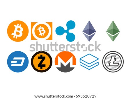 Cryptocurrency logo set - bitcoin, bitcoin cash, litecoin, ethereum, ethereum classic, monero, ripple, zcash, dash, stratis