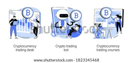 Cryptocurrency market abstract concept vector illustration set. Cryptocurrency trading desk bot, bitcoin trading courses, financial exchange, digital tokens, blockchain technology abstract metaphor.