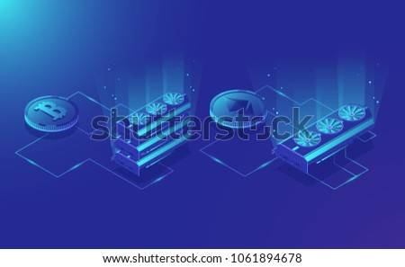 Cryptocurrency mining equipment, isometric ethereum digital currency extract, blockchain system dark blue vector illustration