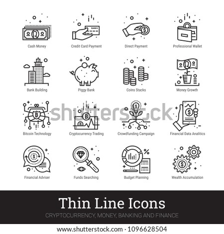 Cryptocurrency, money and banking thin line icons. Modern linear logo concept for web and mobile application. Money making, saving, banking and financial service pictogram. Outline vector collection.