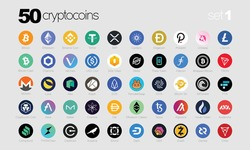 Cryptocurrency or Crypto coins Logo Set in Market. Vector Files