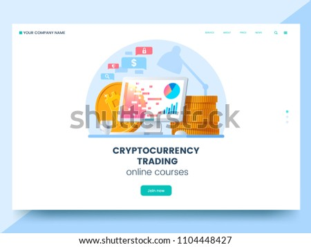 Cryptocurrency trading courses advertising web page. Workplace with computer and pile of gold coins. Purchase of digital coins. Digital currency trading concept. Vector eps 10.