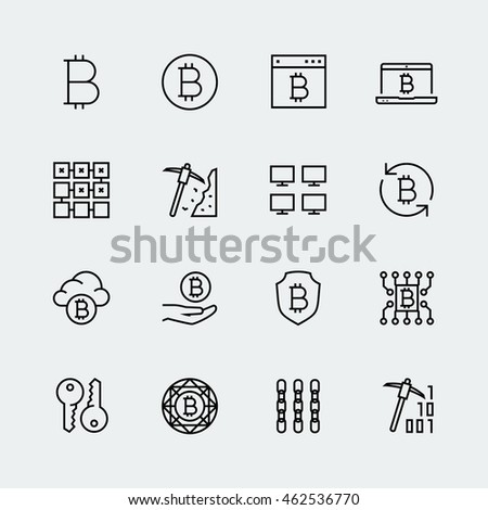 Cryptocurrency vector icon set in thin line style