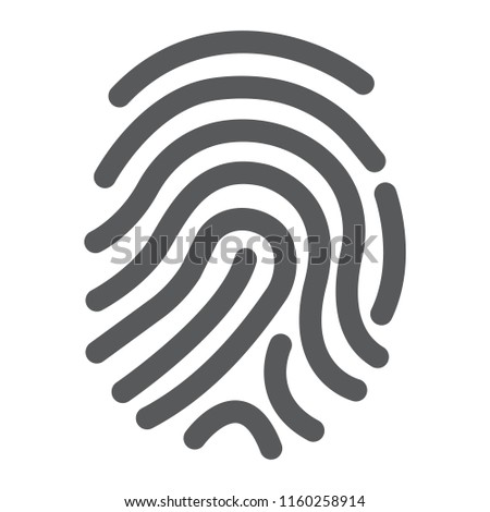 Cryptographic signature glyph icon, security and identity, fingerprint sign, vector graphics, a solid pattern on a white background, eps 10.