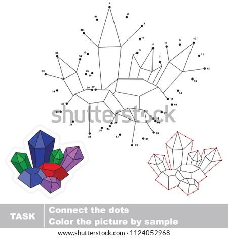 Crystal deposit. Dot to dot educational game for kids.