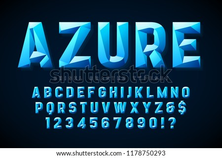 Crystal display font with facets, alphabet, letters and numbers. Swatch color control