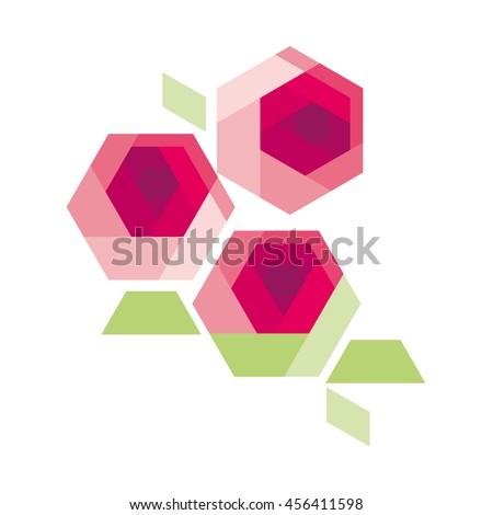 crystal flower concept illustration. geometry flower. geometric decorative rose floral for card or poster