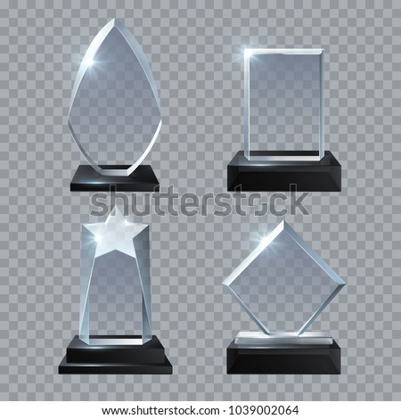 Crystal glass blank trophy awards isolated vector templates collection. Trophy glass prize, base panel achievement illustration - Shutterstock ID 1039002064