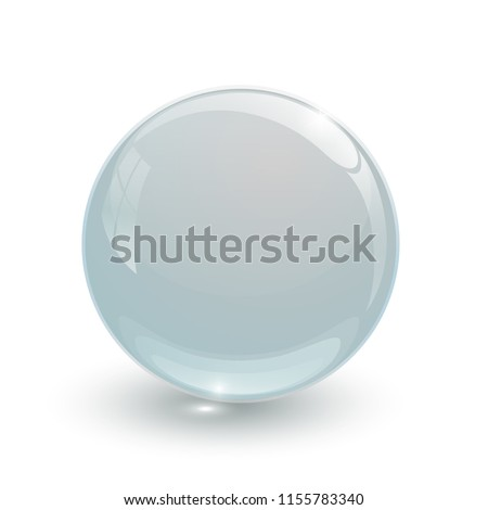 crystal glassy ball on white background isolated