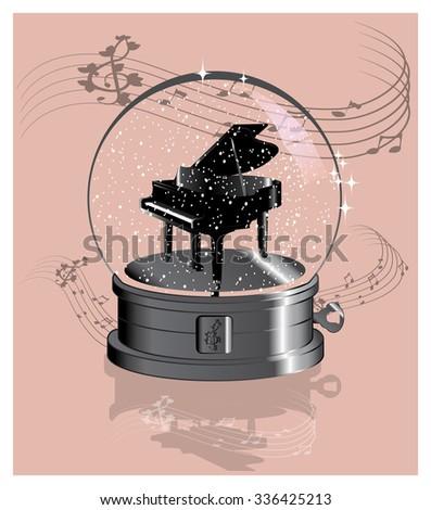 crystal music ball   piano