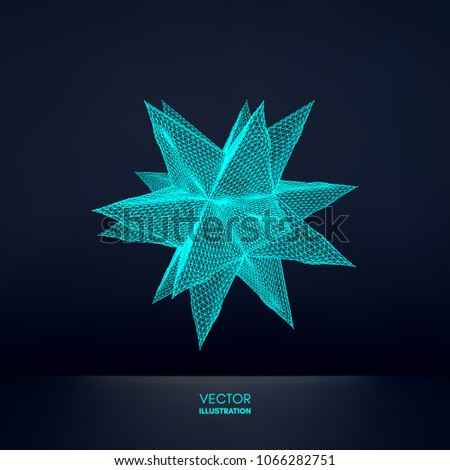 Crystal. Object with connected lines and dots. Molecular grid. 3d futuristic technology style for chemistry and science. Vector illustration.