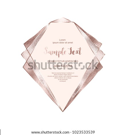 stock-vector-crystal-rose-gold-frame-with-pink-glitter-triangles-geometric-and-polygonal-shapes