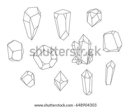 Crystal set, polihedrons linear shapes. - vector stock.