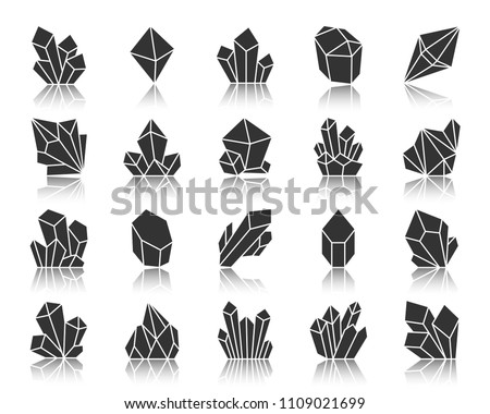 Crystal silhouette icons set. Monochrome sign kit of gemstone. Mineral pictogram collection includes triangle, polygon, emerald prism. Simple vector black symbol. Crystal shape icon with reflection