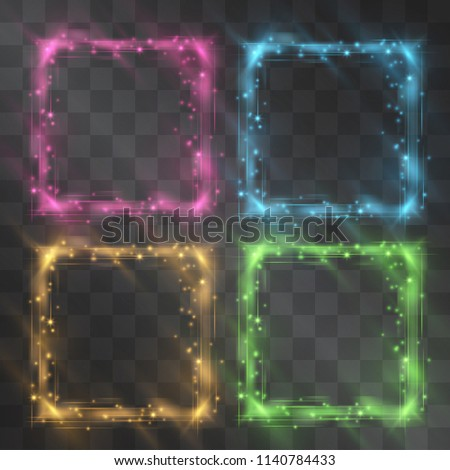 Crystal square frame set with glowing facets and shining stardust sparkles. Brilliant dim glass with flared neon light. Glistening quantum energy. Luxury theme design element. Hazy glowing decor.