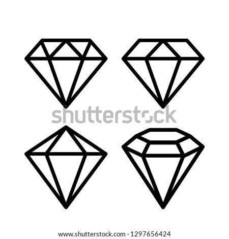 Crystal stone line icons set vector illustration on white background