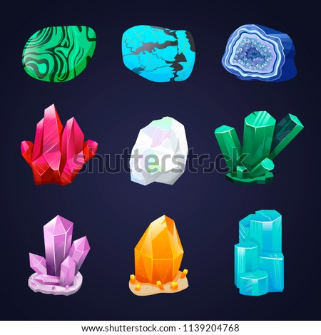 Crystal vector set. Crystalline stone or gem. Precious gemstone. Magic crystals and semiprecious stones vector set. Mineral stony crystallization. Untreated diamond, malachite, turquoise, quartz