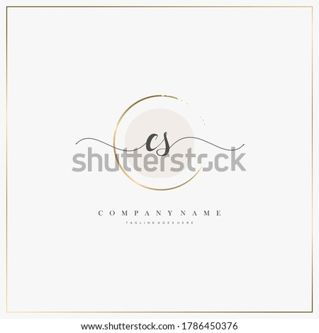 CS Initial Letter handwriting logo hand drawn template vector, logo for beauty, cosmetics, wedding, fashion and business, and other Stock fotó ©