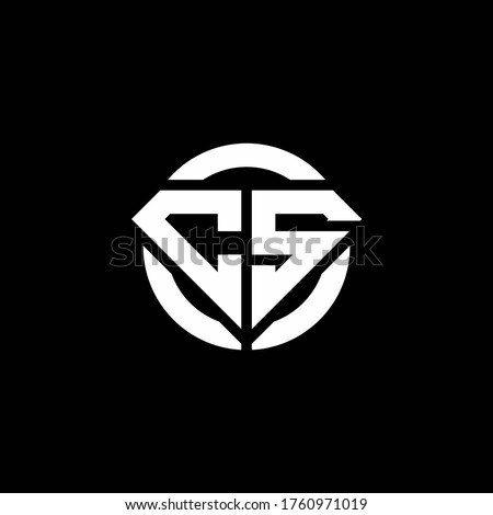 CS monogram logo with diamond shape and ring circle rounded design template Stock fotó ©