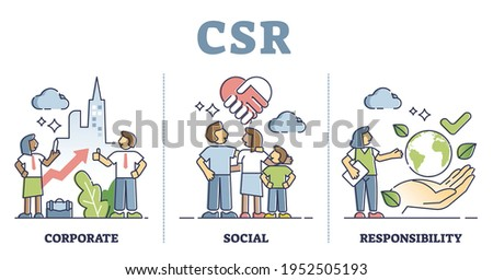 CSR or corporate social responsibility thinking explanation outline concept. Company strategy with business ethics, fair work and ecological sustainable green resource consumption vector illustration. Foto d'archivio ©