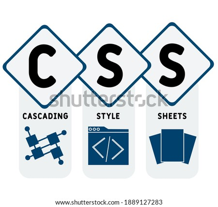 CSS - Cascading Style Sheets acronym. business concept background.  vector illustration concept with keywords and icons. lettering illustration with icons for web banner, flyer, landing page Zdjęcia stock ©