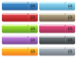 CSS file format engraved style icons on long, rectangular, glossy color menu buttons. Available copyspaces for menu captions.