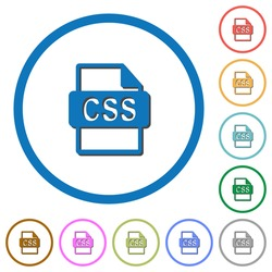 CSS file format flat color vector icons with shadows in round outlines on white background