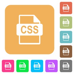 CSS file format flat icons on rounded square vivid color backgrounds.