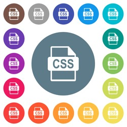 CSS file format flat white icons on round color backgrounds. 17 background color variations are included.
