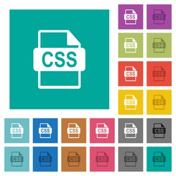 CSS file format multi colored flat icons on plain square backgrounds. Included white and darker icon variations for hover or active effects.