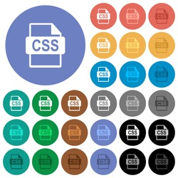 CSS file format multi colored flat icons on round backgrounds. Included white, light and dark icon variations for hover and active status effects, and bonus shades on black backgounds.