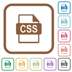 CSS file format simple icons in color rounded square frames on white background