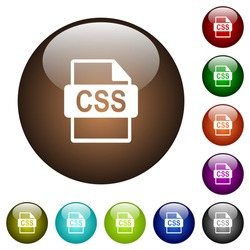 CSS file format white icons on round color glass buttons