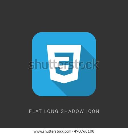 CSS3 Flat blue long shadow Icon / Logo Design