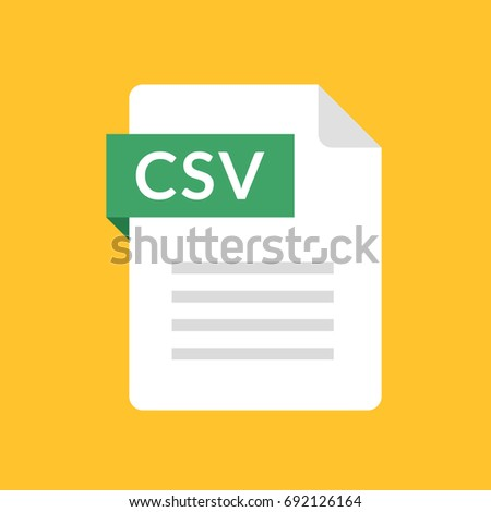 CSV file icon. Comma-separated values document type. Flat design graphic illustration. Vector CSV icon