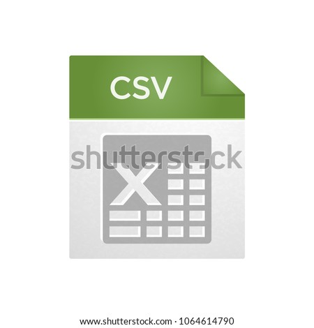 CSV icon, CSV file icon, data document flat design icon, graphical user interface element for applications, websites & data services. Vector illustration isolated on white background.