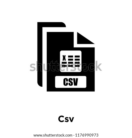 Csv icon vector isolated on white background, logo concept of Csv sign on transparent background, filled black symbol
