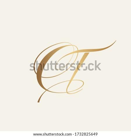 CT monogram logo.Typographic icon with calligraphic script letter c and letter t. Lettering icon. Alphabet initials isolated on light background.Signature style elegant sign decorative characters.