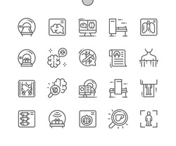 Ct scan. Computed tomograph. Neurology, diagnose, radiology, procedure and radiography. Health care, medical and medicine. Pixel Perfect Vector Thin Line Icons. Simple Minimal Pictogram