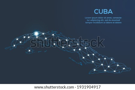 Cuba communication network map. Vector low poly image of a global map with lights in the form of cities. Map in the form of a constellation, mute and stars Photo stock ©