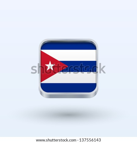 Cuba flag icon square form on gray background. Vector illustration.