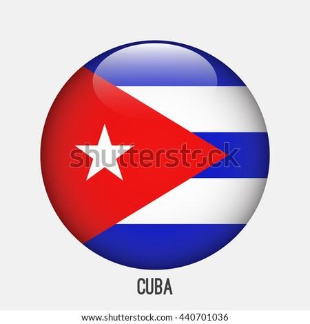 cuba flag in circle shape