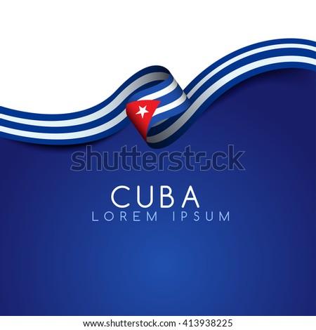 cuba flag ribbon   vector