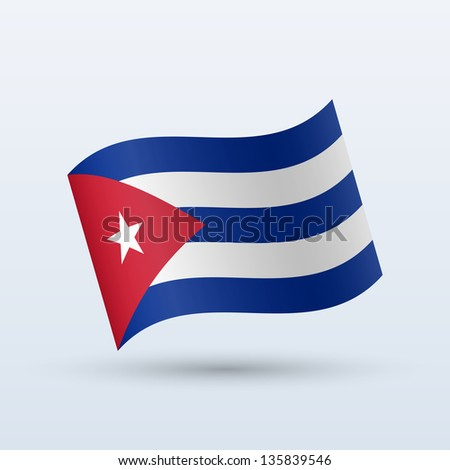 Cuba flag waving form on gray background. Vector illustration.