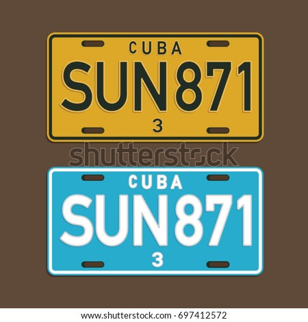 Cuba license plate illustration, tee shirt graphics, vectors, typography