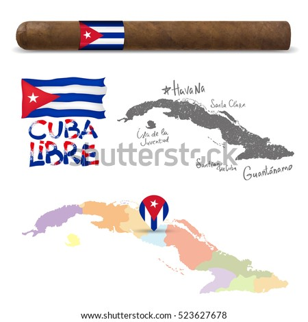 cuba map with attraction and