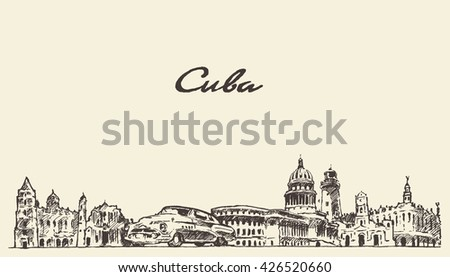 cuba skyline  vintage vector...